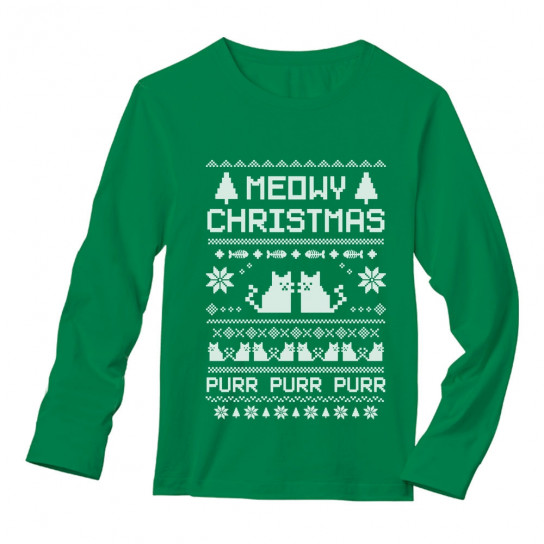 Christmas Sweaters Cute.Meowy Christmas Ugly Sweater Cute Xmas Party Christmas Greenturtle