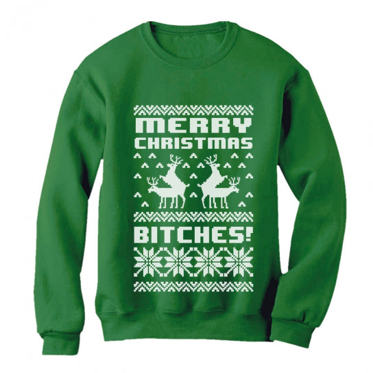 merry christmas bitches ugly xmas sweater funny