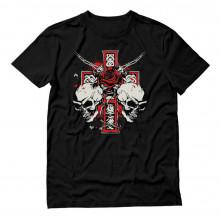 Printed Biker Tattoo Skull Cross Rose Motorcycle Cool