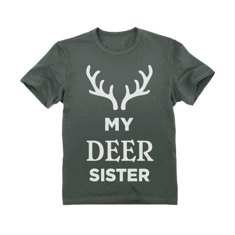 Deer Sister Reindeer Antlers Siblings Xmas Toddler//Kids Long Sleeve T-Shirt