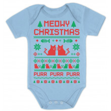 Cute Xmas Bodysuit - Meowy Christmas Ugly Sweater Design