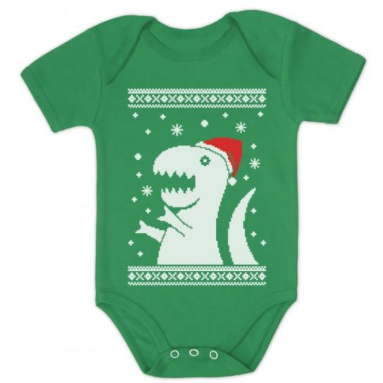Big Trex Santa Ugly Christmas Sweater Baby Grow Vest