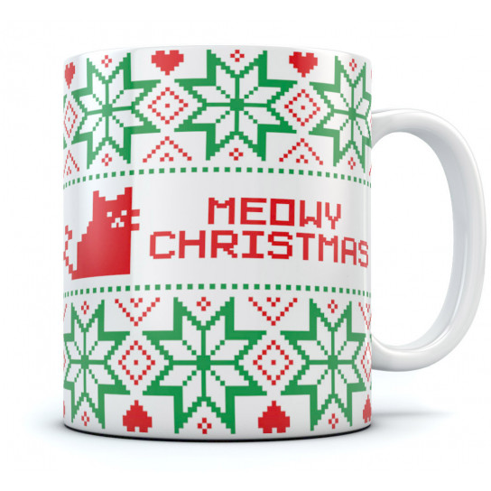 Ugly Christmas Sweater Meowy Coffee Mug - Best Holidays Office Gift Idea Tea