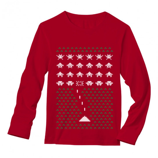 Space Geeky Ugly Christmas Sweater Invaders Ugly Christmas