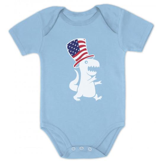 American T-Rex Dinosaur USA Flag Babies