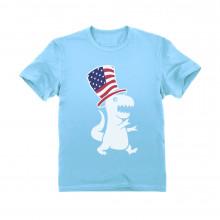American T-Rex Dinosaur USA Flag 4th of July Children
