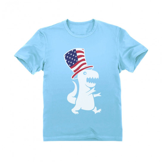 American T-Rex Dinosaur USA Flag 4th of July Children