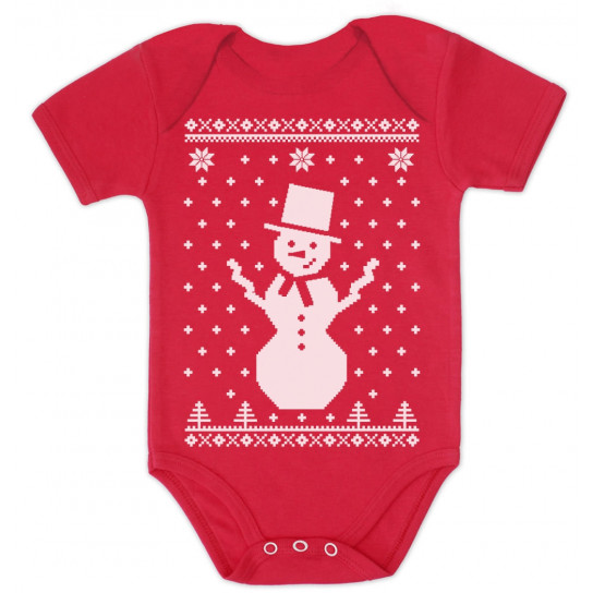 Big Snowman Ugly Christmas Sweater - Xmas Baby Grow Vest