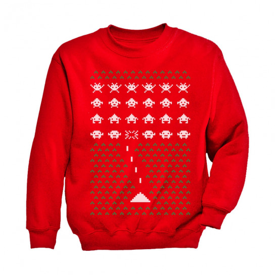 Space Geeky Ugly Christmas Sweater Invaders Funny Xmas Christmas