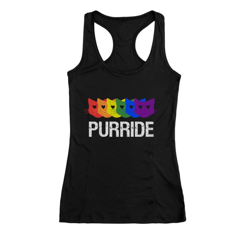 f5e34721ef9cd Purride Gay   Lesbian Pride Cat Lover Rainbow T-Shirt and Cap - LGBT ...