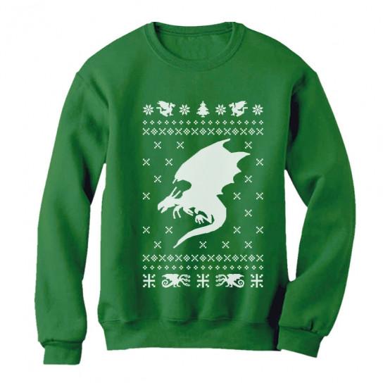 Big White Dragon Ugly Christmas Sweater Xmas Apparel