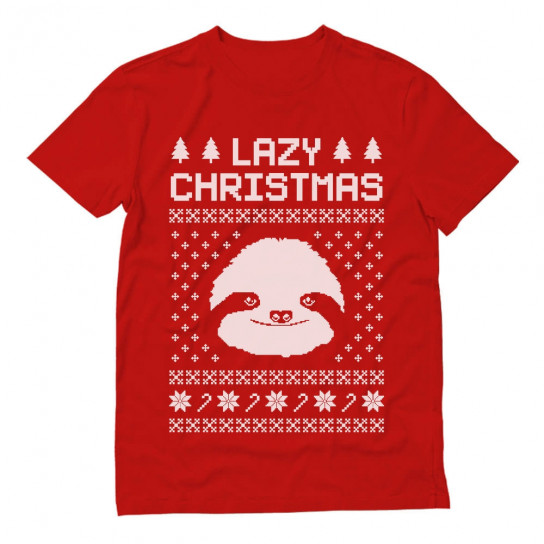 Lazy Ugly Christmas Sweater Big White Sloth Face Funny