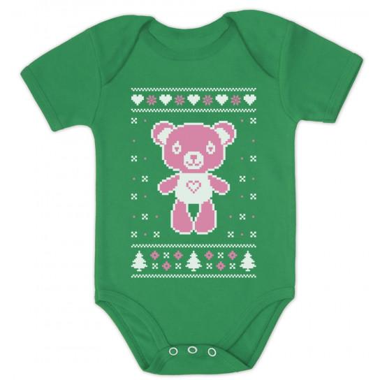 Big Pink Furry Bear Doll - Cute Ugly Christmas Sweater
