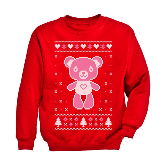 big pink furry bear doll cute ugly christmas sweater - Pink Ugly Christmas Sweater