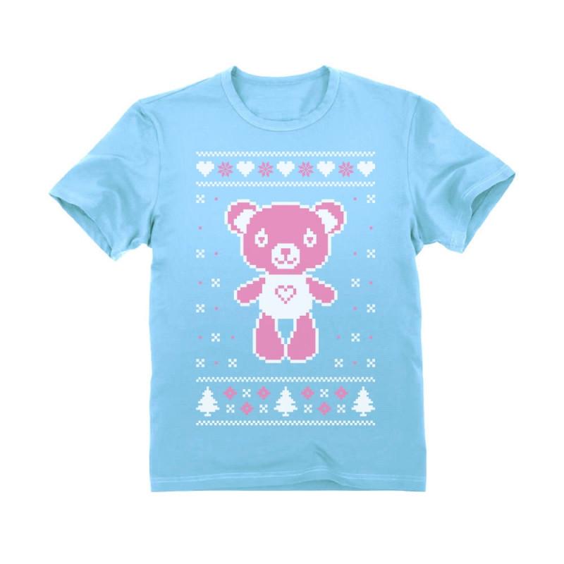 Cute Big Pink Furry Bear Doll Ugly Christmas Sweater Kids T-Shirt Xmas Gift