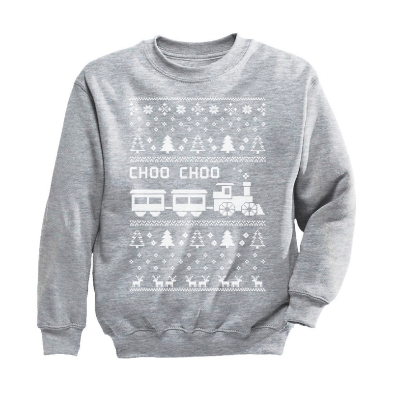 choo choo train childrens ugly christmas sweater - Childrens Ugly Christmas Sweaters
