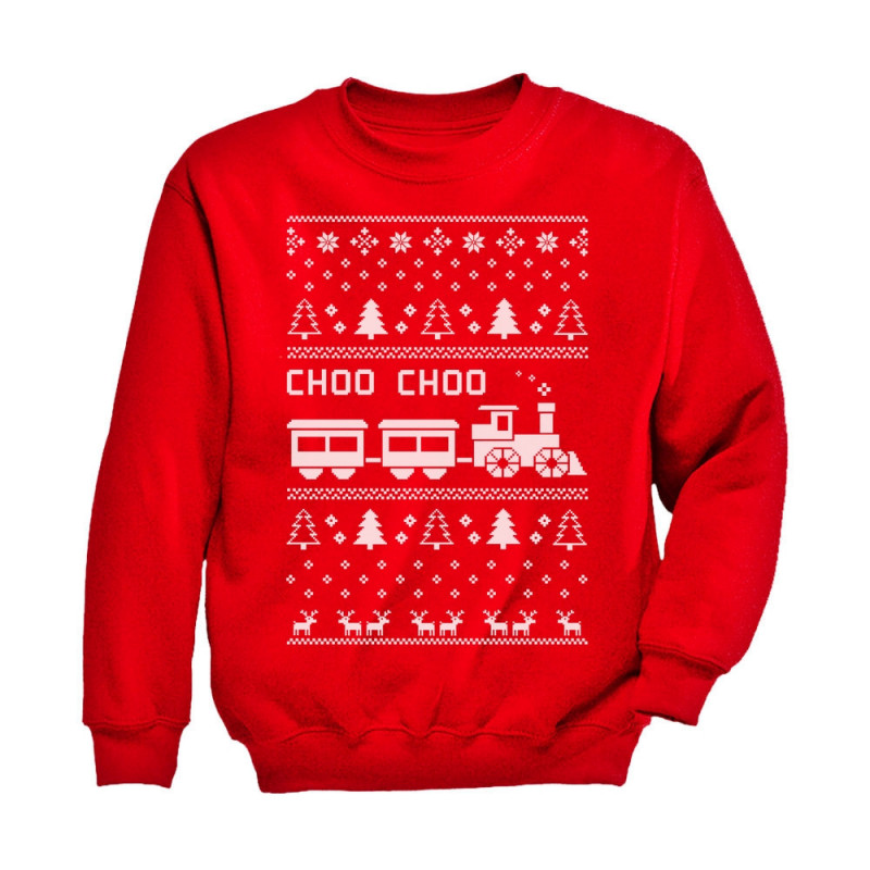 choo choo train childrens ugly christmas sweater cute - Childrens Ugly Christmas Sweaters