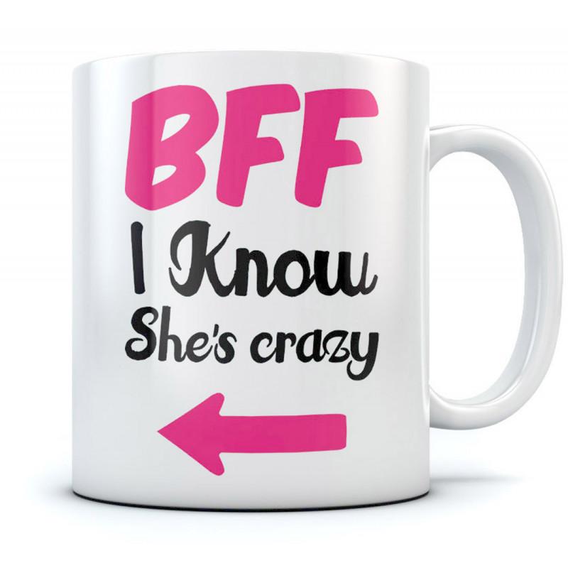 bff i know shes crazy mug funny stuff greenturtle