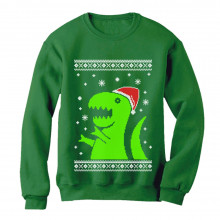 Big Green Trex Santa Ugly Christmas Sweater Funny Xmas