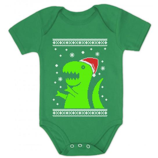 Big Green Trex Santa Ugly Christmas Sweater Grow Vest