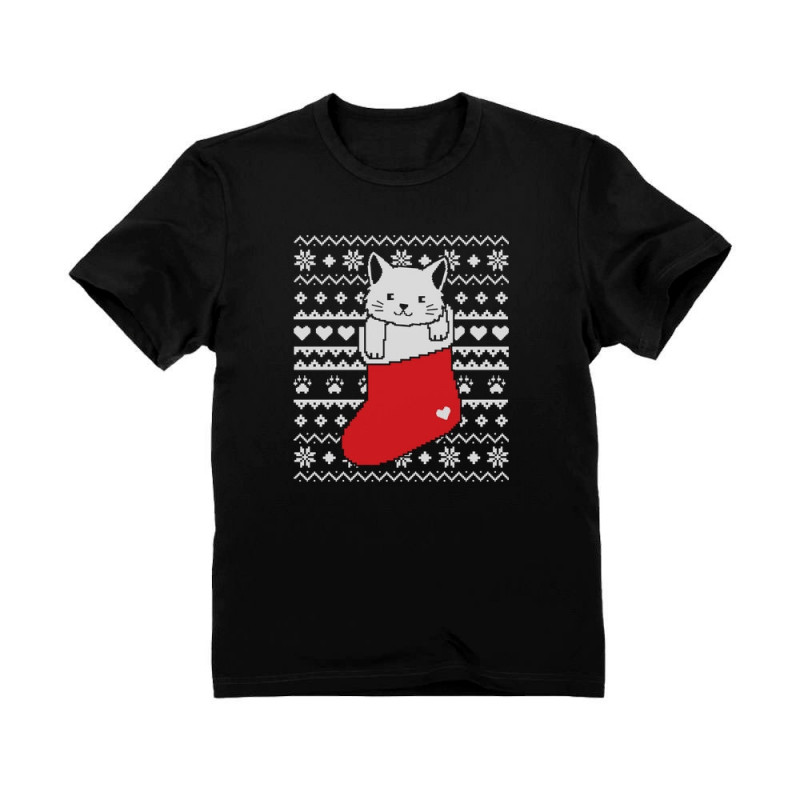 Cat in Stocking Kitty Ugly Christmas Sweater - Christmas - Greenturtle