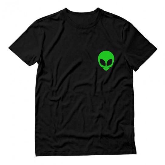 Neon Green Alien Face Print