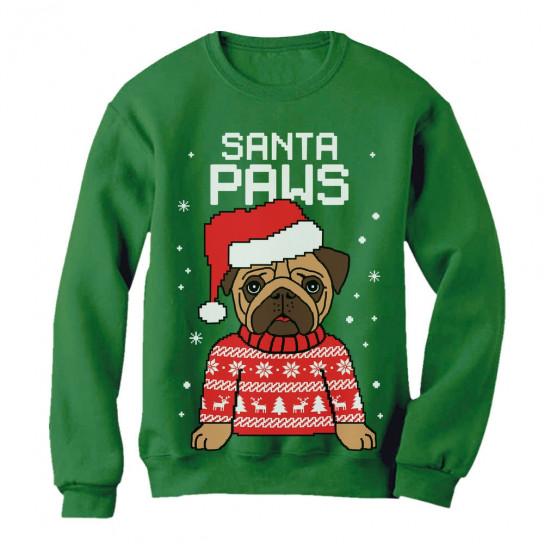 Santa Paws Pug Ugly Christmas Sweater Christmas Greenturtle