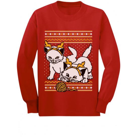 Cats with Reindeer Antler Headband Ugly Christmas