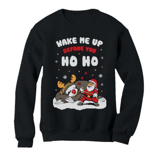 Wake Me Up Before You HO HO Santa Sloth Ugly Xmas