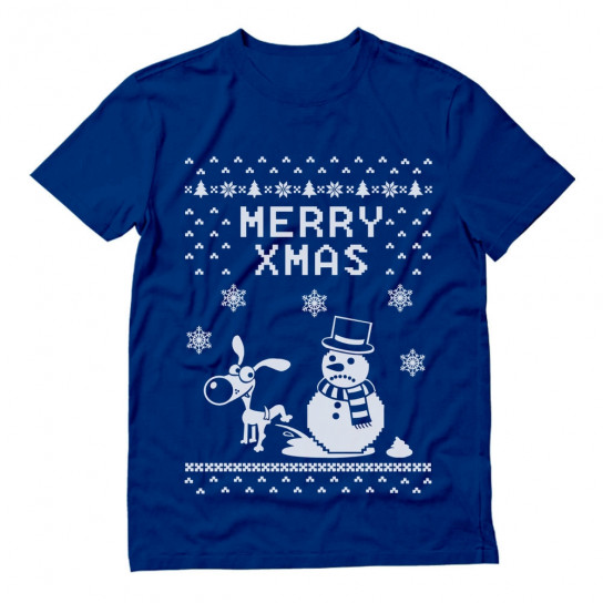 Christmas Funny Dog & Snowman - Ugly Sweater - Merry Xmas