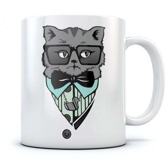 Male Hipster Cat Mug