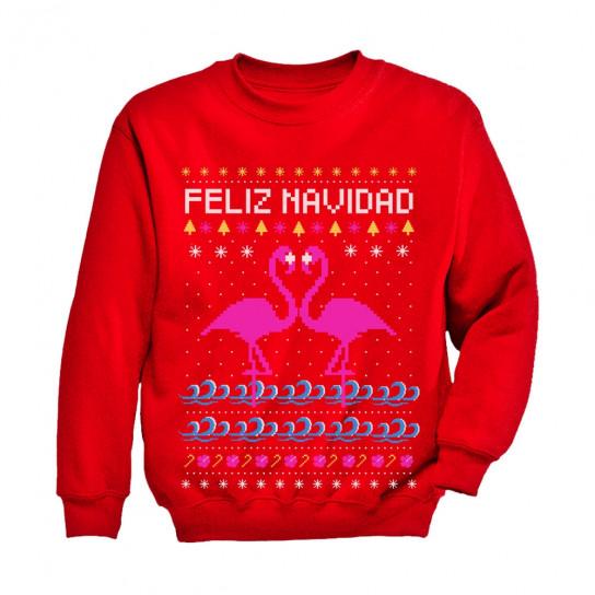 Feliz Navidad Flamingo Ugly Christmas Sweater - Christmas - Greenturtle