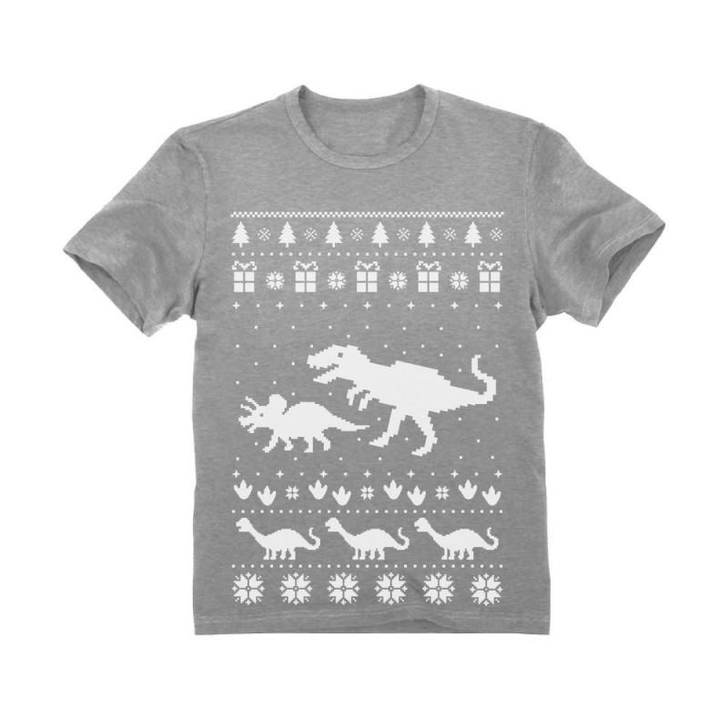 Dinosaur T-Rex Ugly Christmas Cute Holidays Toddler//Kids Long sleeve T-Shirt
