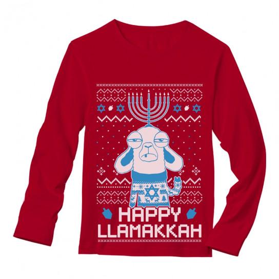 Jewish Christmas Sweater.Funny Jewish Hanukkah Happy Llamakkah Ugly Christmas Ugly Christmas Greenturtle