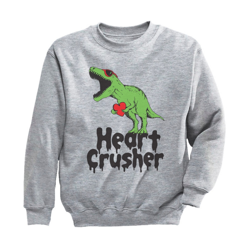 Heart Crusher T-Rex Love Valentine/'s Day Women Sweatshirt