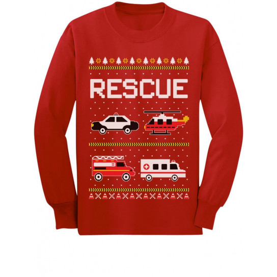 Rescue Team Firemen Policemen Ugly Christmas
