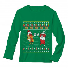 Funny Junk Food Burger & Hot Dog Ugly Christmas Sweater