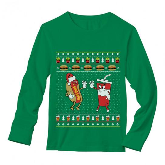 funny junk food burger hot dog ugly christmas sweater
