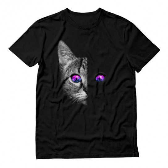 Black Cat Face Galaxy Space Eyes