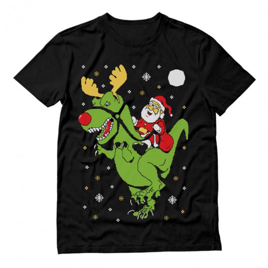 T-Rex Santa Ride Ugly Christmas
