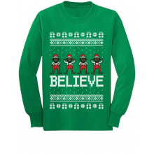 Believe Black Santa Elves Ugly Christmas Sweater