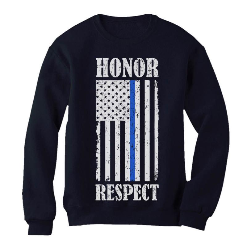 Thin Blue Line American Flag Honor Respect Policemen Gift Sweatshirt Police