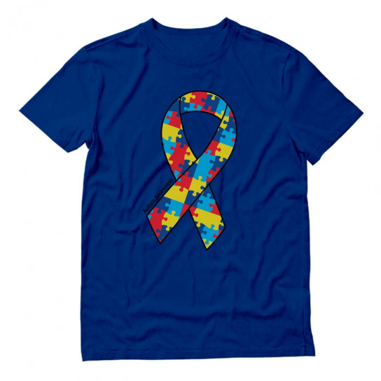 Large Autism Awareness Colorful Puzzle Ribbon