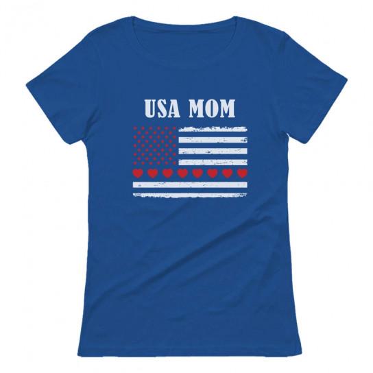 U.S.A MOM Big American Hearts Flag