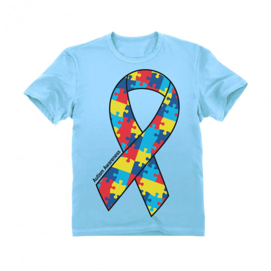 Large Autism Awareness Colorful Puzzle Ribbon - Children