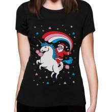 Santa Riding Unicorn Rainbow Ugly Xmas