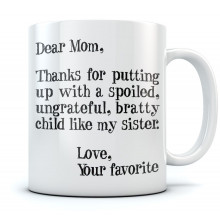 Mother's Day Gift idea For Mom - Funny Coffee Mug - Dear Mom Novelty Tea