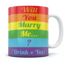 Will You Marry Me? Coffee Mug - Gay Marriage Proposal Rainbow Flag Cool Tea
