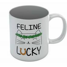 St. Patrick's Day Feline Lucky Green Clovers Coffee