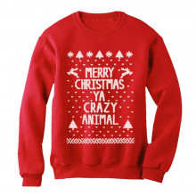 Merry Christmas Ya Crazy Animal Ugly Xmas Sweater